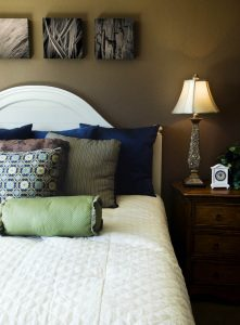 bedroom with macro framed photography print by laura cope on wall