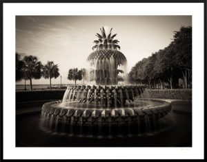 Charleston Pineapple fountain on waterfront bay | custom frame