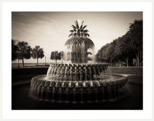 Charleston Pineapple fountain on waterfront bay