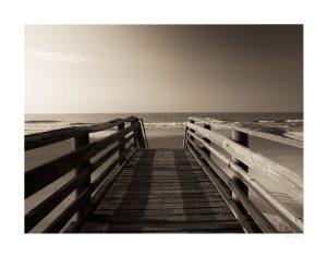 pier overlooking ocean waves in Charleston south carolina | unframed print