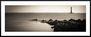 lighthouse in bay, overlooking water | Charleston South Carolina | Framed