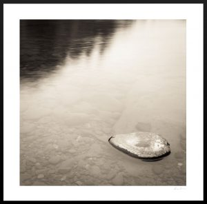 rock submerged in lake | macro photography print