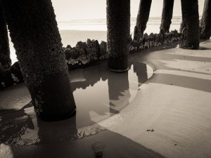 old beach pier with a view of the ocean shore and beach waves |water